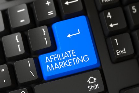 affiliate marketing: Affiliate Marketing Concept: Computer Keyboard with Selected Focus on Blue Enter Keypad. 3D.