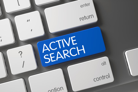 rummage: Active Search Concept: Modern Keyboard with Active Search, Selected Focus on Blue Enter Key. 3D Illustration.