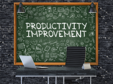 increment: Productivity Improvement - Hand Drawn on Green Chalkboard in Modern Office Workplace. Illustration with Doodle Design Elements. 3D.