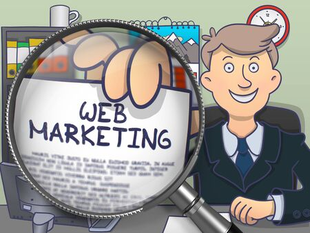 web marketing: Web Marketing on Paper in Mans Hand to Illustrate a Business Concept. Closeup View through Magnifier. Colored Modern Line Illustration in Doodle Style. Stock Photo