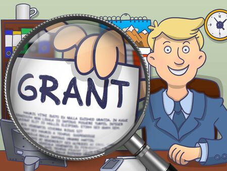 Grant. Text on Paper in Mans Hand through Lens. Colored Modern Line Illustration in Doodle Style.
