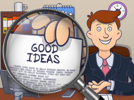 genial: Good Ideas on Paper in Mans Hand through Lens to Illustrate a Business Concept. Multicolor Modern Line Illustration in Doodle Style.