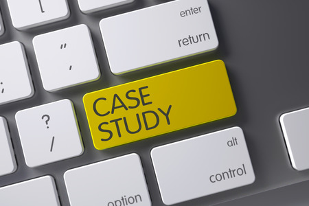 the case selected: Case Study Concept: Laptop Keyboard with Case Study, Selected Focus on Yellow Enter Button. 3D Illustration.