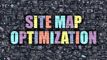 relevance: Site Map Optimization. Multicolor Inscription on Dark Brick Wall with Doodle Icons. Site Map Optimization Concept in Modern Style. Site Map Optimization Business Concept. Stock Photo