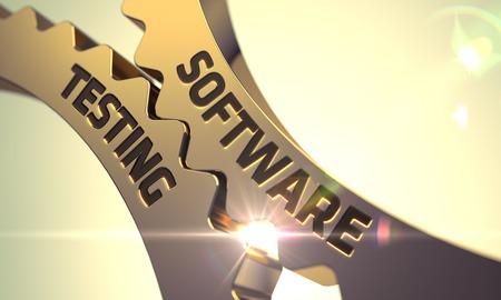 control de calidad: Software de pruebas de oro Ruedas dentadas metálicas. Render 3D.
