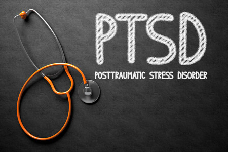 distressing: Medical Concept: PTSD - Posttraumatic Stress Disorder - Text on Black Chalkboard with Orange Stethoscope. Medical Concept: Black Chalkboard with PTSD - Posttraumatic Stress Disorder. 3D Rendering.
