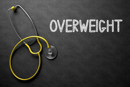 fatness: Medical Concept: Overweight Handwritten on Black Chalkboard. Overweight. Medical Concept, Handwritten on Black Chalkboard. Top View Composition with Chalkboard and Yellow Stethoscope. 3D Rendering. Stock Photo