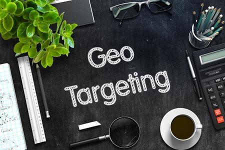 ip address: Geo Targeting - Text on Black Chalkboard.3d Rendering. Toned Image.