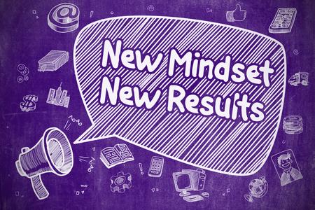 mindset: Business Concept. Horn Speaker with Inscription New Mindset New Results. Doodle Illustration on Purple Chalkboard.