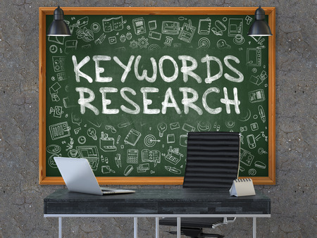 keywords link: Keywords Research - Handwritten Inscription by Chalk on Green Chalkboard with Doodle Icons Around. Business Concept in the Interior of a Modern Office on the Dark Old Concrete Wall Background. 3D.