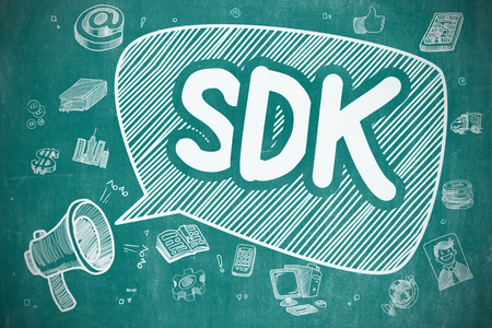 dissemination: Speech Bubble with Wording SDK - Software Development Kit Hand Drawn. Illustration on Blue Chalkboard. Advertising Concept.