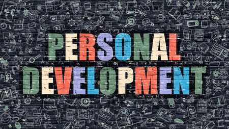personal development: Multicolor Concept - Personal Development on Dark Brick Wall with Doodle Icons. Modern Illustration in Doodle Style. Personal Development Business Concept. Personal Development on Dark Wall.
