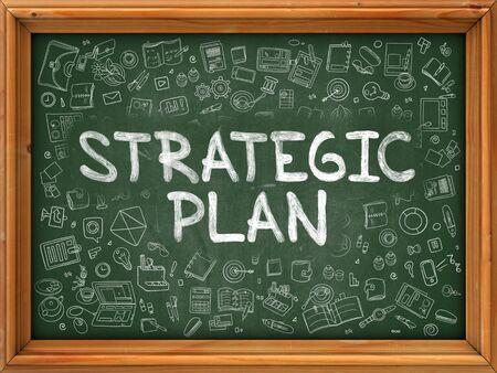 strategic plan: Strategic Plan Concept. Modern Line Style Illustration. Strategic Plan Handwritten on Green Chalkboard with Doodle Icons Around. Doodle Design Style of Strategic Plan Concept.
