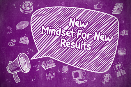 Business Concept. Loudspeaker with Wording New Mindset For New Results. Cartoon Illustration on Purple Chalkboard. Stock Photo