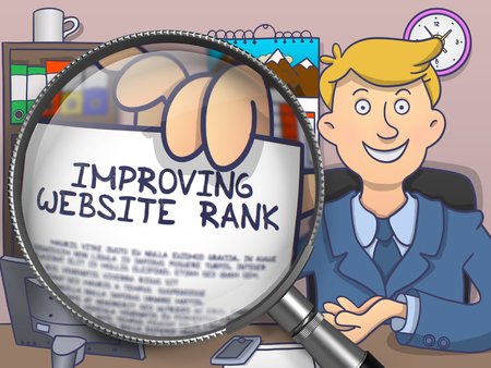 improving: Improving Website Rank on Paper in Mans Hand through Magnifying Glass to Illustrate a Business Concept. Colored Doodle Style Illustration.