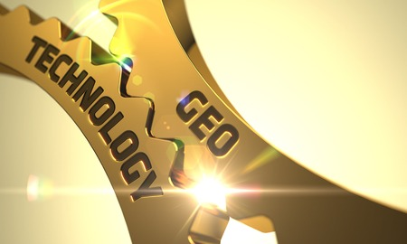 geo: Geo Technology - Industrial Illustration with Glow Effect and Lens Flare. 3D Render.