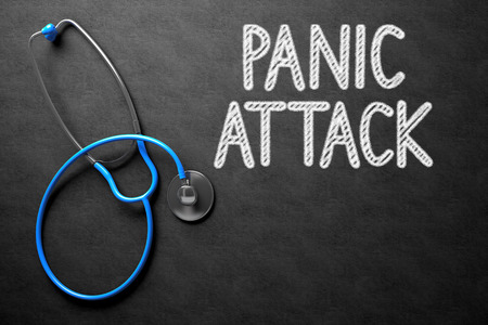 panic attack: Medical Concept - Panic Attack Handwritten on Black Chalkboard. Top View Composition with Chalkboard and Blue Stethoscope. Medical Concept: Black Chalkboard with Panic Attack. 3D Rendering. Stock Photo