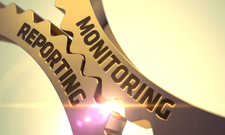 reporting: Monitoring Reporting - Golden Metallic Cog Gears. Technical Design. 3D Illustration. Stock Photo