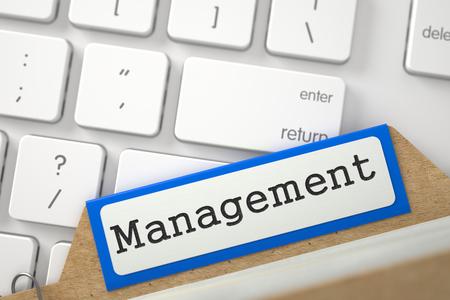 gimmick: Management Concept. Word on Blue Folder Register of Card Index. Close Up View. Selective Focus. 3D Rendering.