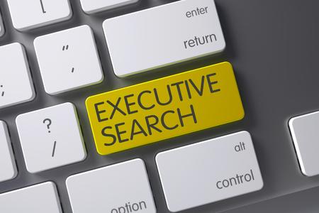 executive search: Executive Search Concept: Modern Laptop Keyboard with Executive Search, Selected Focus on Yellow Enter Button. 3D. Stock Photo