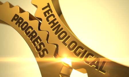 technological evolution: Technological Progress on Mechanism of Golden Metallic Gears with Lens Flare. 3D Render.