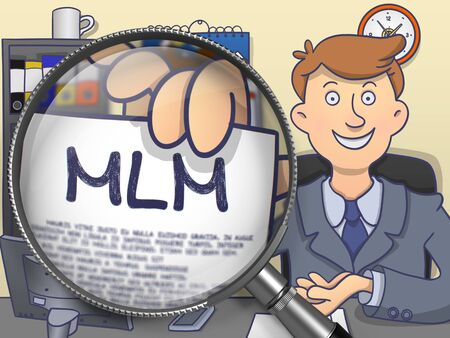 multi level: MLM - Multi Level Marketing. Officeman Shows Text on Paper through Magnifying Glass. Multicolor Doodle Illustration. Stock Photo