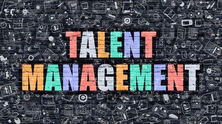 talent management: Talent Management Concept. Talent Management Drawn on Dark Wall. Talent Management in Multicolor. Talent Management Concept. Modern Illustration in Doodle Design of Talent Management. Stock Photo