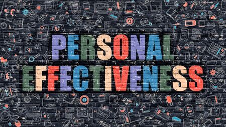 effectiveness: Personal Effectiveness Concept. Modern Illustration. Multicolor Personal Effectiveness Drawn on Dark Brick Wall. Doodle Icons. Doodle Style of  Personal Effectiveness Concept.