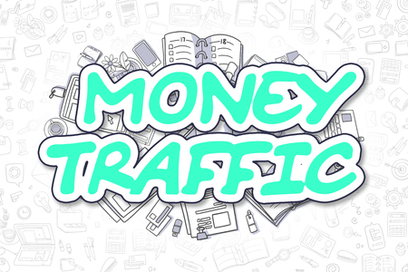 remittance: Business Illustration of Money Traffic. Doodle Green Word Hand Drawn Doodle Design Elements. Money Traffic Concept.