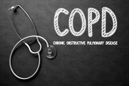 alveolos: Concepto médico: EPOC - Enfermedad Pulmonar Obstructiva Crónica en la pizarra Negro. Concepto médico: EPOC - Enfermedad Pulmonar Obstructiva Crónica - concepto médico en la pizarra Negro. Representación 3D.