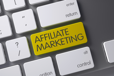 affiliate marketing: Affiliate Marketing Concept: White Keyboard with Affiliate Marketing, Selected Focus on Yellow Enter Button. 3D Illustration. Stock Photo