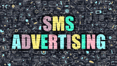 sms: SMS Advertising Concept. SMS Advertising Drawn on Dark Wall. SMS Advertising in Multicolor. SMS Advertising Concept. Modern Illustration in Doodle Design of SMS Advertising. Stock Photo