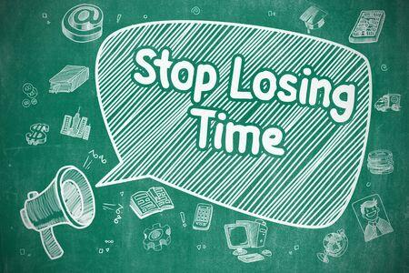 マンガの吹き出しに時間を失うことを停止します。メガホンを金切り声の漫画イラスト。広告の概念。