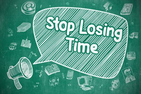 losing: Stop Losing Time on Speech Bubble. Cartoon Illustration of Shrieking Megaphone. Advertising Concept. Stock Photo
