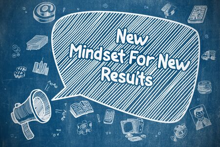 mindset: New Mindset For New Results on Speech Bubble. Hand Drawn Illustration of Yelling Bullhorn. Advertising Concept.