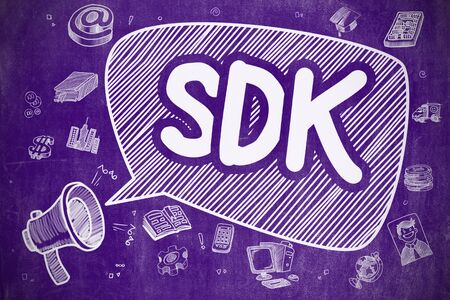 dissemination: Speech Bubble with Text SDK - Software Development Kit Doodle. Illustration on Purple Chalkboard. Advertising Concept. Stock Photo