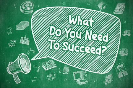 aspirational: Speech Bubble with Inscription What Do You Need To Succeed Doodle. Illustration on Green Chalkboard. Advertising Concept.