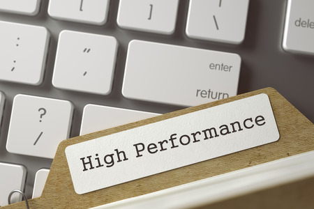 card index: High Performance written on  Card Index Overlies Modern Metallic Keyboard. Archive Concept. Closeup View. Selective Focus. Toned Image. 3D Rendering.