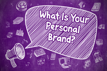 personality: Speech Bubble with Phrase What Is Your Personal Brand Cartoon. Illustration on Purple Chalkboard. Advertising Concept. Stock Photo
