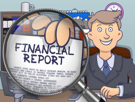 financial report: Financial Report on Paper in Officemans Hand through Lens to Illustrate a Business Concept. Multicolor Modern Line Illustration in Doodle Style.