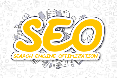keywords link: SEO - Search Engine Optimization - Sketch Business Illustration. Yellow Hand Drawn Inscription SEO - Search Engine Optimization Surrounded by Stationery. Cartoon Design Elements. Stock Photo