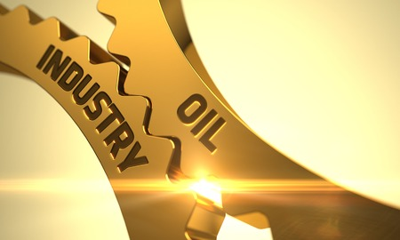 Oil Industry on Mechanism of Golden Cog Gears. 3D Render.
