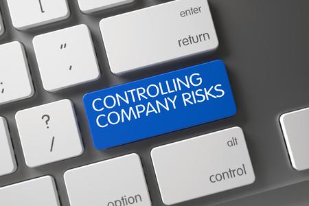 risks button: Controlling Company Risks Concept: Metallic Keyboard with Controlling Company Risks, Selected Focus on Blue Enter Button. 3D Render.