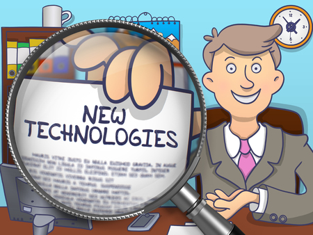 new technologies: Businessman Showing a Paper with Inscription New Technologies. Closeup View through Magnifier. Multicolor Modern Line Illustration in Doodle Style.