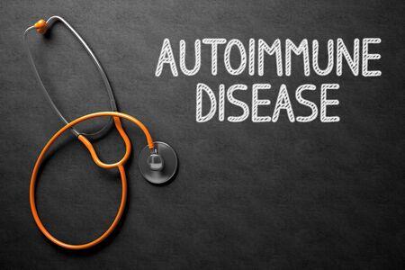 autoimmune: Medical Concept: Black Chalkboard with Autoimmune Disease. Medical Concept: Autoimmune Disease on Black Chalkboard. 3D Rendering. Stock Photo