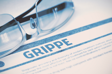 grippe: Grippe - Medicine Concept with Blurred Text and Specs on Blue Background. Selective Focus. 3D Rendering.
