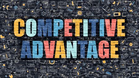 adversary: Competitive Advantage. Multicolor Inscription on Dark Brick Wall with Doodle Icons. Competitive Advantage Concept in Modern Style. Competitive Advantage Business Concept. Stock Photo