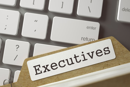 card index: Executives Concept. Word on Folder Register of Card Index. Archive Bookmarks of Card Index Overlies White Modern Keypad. Closeup View. Selective Focus. Toned Image. 3D Rendering. Stock Photo