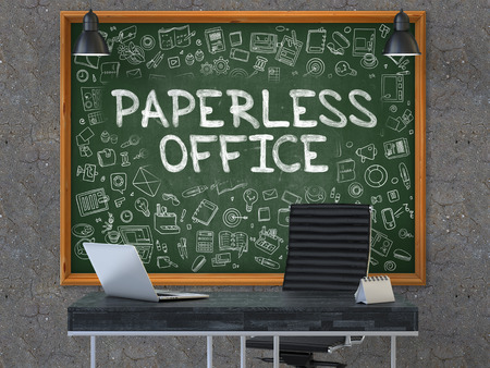 paperless: Paperless Office Concept Handwritten on Green Chalkboard with Doodle Icons. Office Interior with Modern Workplace. Dark Old Concrete Wall Background. 3D.