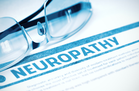 involuntary: Diagnosis - Neuropathy. Medicine Concept on Blue Background with Blurred Text and Glasses. Selective Focus. 3D Rendering. Stock Photo